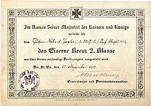 BESITZZEUGNIS ZUM Eisernes Kreuz 2. Klasse 1914