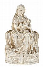 Enthroned Madonna and child with flowing drapery in the late gothic manner.