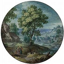HANS BOL (1533 - 1594)   Miniature landscape with the expulsion of Isma