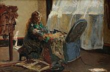 LEON HERBO (1850-1907)   Girl in interior near the window. Panel (mahog