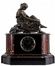 JEAN-JACQUES PRADIER (1792-1852)   Mantelclock in black and red veined
