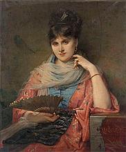 CHARLES LOUIS LUCIEN MULLER (1815-1892)   'La dame au kimono'  Canv