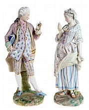 Nobleman and lady. A pair of figures in multi-coloured painted porcelain. M