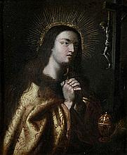 ANONYMOUS XVII / XVIII Spaine   The Penitent Mary Magdalene. Copper. To