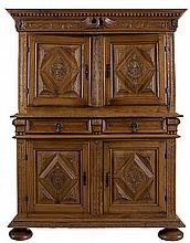 Cupboard. Light walnut with a straight cornice in relief with a carved deco