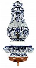 Samowar with basin. Rouen earthenware. Painted in blue. Marked 'HV'. 19th c