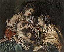 ANONYMOUS Italy (?)   The mystical marriage of Saint Catherine. Canvas.