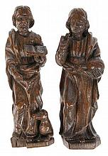 Saint John The Baptist with lam and blessing Christ with globe. A pair of o