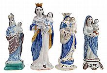 A set of four various Madonna statues. Multi-coloured glazed earthenware. T