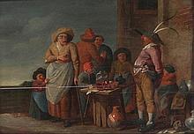 ANDRIES BOTH (1610-1645) follower  The charlatan. Panel. Horizontal crack.  34.5 x 40