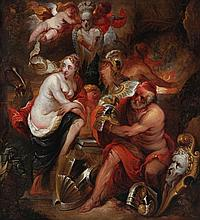 PIETER PAUL RUBENS (1577-1640) XVIII follower  Venus in Vulcanus' forge. Canvas. Relined, overpaints.