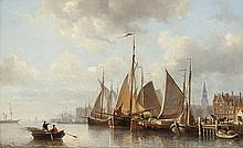 EVERHARDUS KOSTER HZN (1817-1892)   Moored fishing boats at the Antwerp