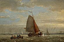 EGIDIUS LINNIG (1821-1860)   View of the river Scheldt with yachts near