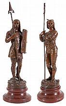LEON PERZINKA (act 1887-1903)   Standing Viking. Bronze, brown patina.