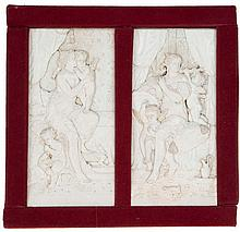 A pair of plaques with a carved decor in relief of Venus with couple of amo