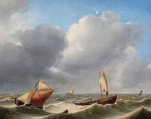 CHARLES LOUIS  VERBOECKHOVEN (1802-1884)   Yachts in stormy weather. Pa