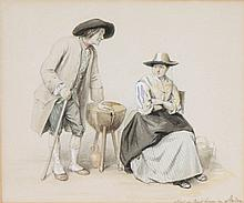 JEAN BAPTISTE MADOU (1796-1877)  The conversation. Water colour, pencil. Signed 'Madou'.  18 x 22