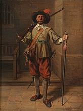 JEAN BAPTISTE MADOU (1796-1877)  Interior with standing musketeer. Panel (mahogany).  Signed and dated 'Madou 1862'.  24 x 31.5