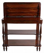 Openfolding dessert sideboard. Mahogany. Two drawers, two shelves. Spindled posts. Louis Philippe period.  95 x 112 x 41