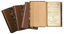 (voyage) George Anson, Voyage autour du monde. Paris, Quillau/ Delorme/ Le Loup, 1750. 3 tomes en 4 vol. in-12°.I: Page de titre, (1), XXXIV, 283 pp.num., (4).II: Page de titre, (2), 215 pp.num., (1). III: Page de titre, (3), 218-468 pp.num.,