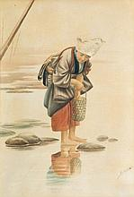 KINICHIRO HONDA (1850-1921) to be attributed toChinese woman. Watercolour. Signée. Encadrée. 430 x 290 mm