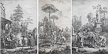 GIUSEPPE ZOCCHI (1711-1767) afterOude man gevoed door meisje op binnenplaats. Kopergravure. Getekend in de plaat. In kader. Samen met twee andere, van dezelfde artiest. Tot.: 3 stuks470 x 310 mm