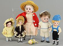 LOT OF FIVE GERMAN ALL BISQUE DOLLS