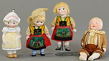 LOT OF FOUR ALL BISQUE GERMAN DOLLS