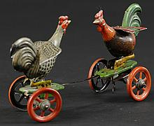 FIGHTING ROOSTERS ON PLATFORM TOY