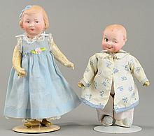 PAIR OF UNUSUAL GEBRUDER HEUBACH CHARACTER DOLLS