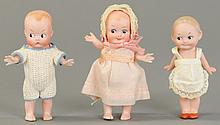 THREE GEBRUDER HEUBACH ALL BISQUE CHARACTER DOLLS