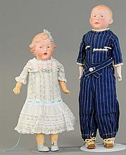 PAIR OF UNUSUAL GEBRUDER HEUBACH GERMAN DOLLS