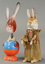 TWO EASTER RABBIT CANDY CONTAINERS