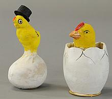 TWO CHICK IN EGG CANDY CONTAINERS