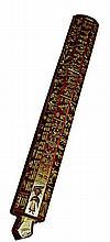 Moule à Torma, ou figures magiques,  de forme hexagonale, en bois sculpté en creux sur les six faces de différents motifs animaliers et auspicieux  Tibet, XXe siècle. Long : 34,5 cm  60/80 €