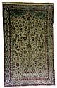 Exceptionnel et rare Tapis KACHAN SOOF, en relief, broché de fils métal argenté, (Perse), vers 1870.
