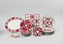 HERMES Paris made in France  Ensemble de 16 pièces en porcelaine