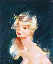 Jean Gabriel DOMERGUE 1889-1962   PORTRAIT DE JEUNE FILLE AUX CHEVEUX BLONDS