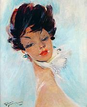Jean Gabriel DOMERGUE 1889-1962   PORTRAIT DE FEMME AUX BOUCLES D'OREILLE BLEUES