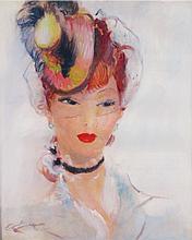 Jean Gabriel DOMERGUE 1889-1962   PORTRAIT DE STÉPHANIE