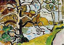 Louis VALTAT 1869-1952   Gros arbre au bord du lac de Boulogne, circa 1937