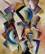 Patrick LEROY, né en 1948   Composition cubiste à la bouteille