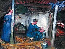 Jean SOUVERBIE 1891-1981   Femmes dans l'étable