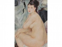 Auguste RENOIR 1841-1919  Femme nue assise  Estampe   21 x 15