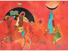 Wassily KANDINSKY 1866-1944   Composition sur fond rouge  Estampe   33 x 45