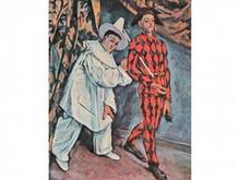 Paul CEZANNE 1839-1906  Homme en costume de théâtre blanc et homme en costume rouge à losange noir   Estampe   24 x 19