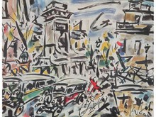 GEN PAUL 1895-1975  Paris  Estampe signée en bas à droite  30 x 40