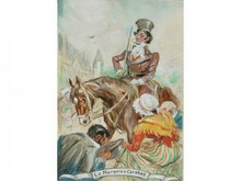 * Marcel BLOCH, né en 1884   Le marquis de Carabas  Deux aquarelles signées  20 x 30  37 x 25