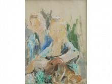 * Marius WOULFART 1905-1991   Jeunes filles au chien  Gouache signée en bas à droite  53 x 43