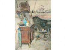 Louis Agricol MONTAGNÉ 1879-1960  Intérieur Provençal  Aquarelle signée en bas à droite  A vue 60 x 54